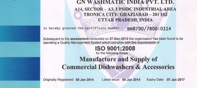 2014 – CERTIFIED ISO 9001 – 2008